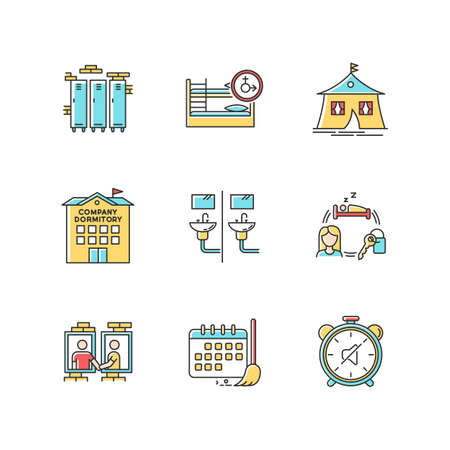 Living in dormitory RGB color icons set. Lockers. Mixed bedroom. Company dorm. Neighborhood. Cleaning schedule. Quiet hours. Communal bathroom. Isolated vector illustrations