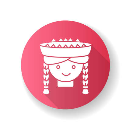 Peruvian girl pink flat design long shadow glyph icon. Cute smiling woman head with braids. Young lady in traditional hat. Latin american national headdress. Local Peru child. Silhouette RGB color illustration