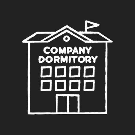 Company dormitory chalk white icon on black background. Housing complex. Living accommodations for employees. Housing facilities. Residential area. Isolated vector chalkboard illustration