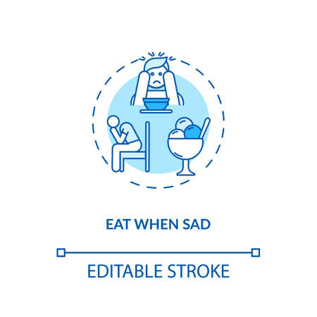 Eat when sad concept icon. Emotional eating, mindless nutrition idea thin line illustration. Unhealthy habit, careless overeating. Vector isolated outline RGB color drawing. Editable stroke