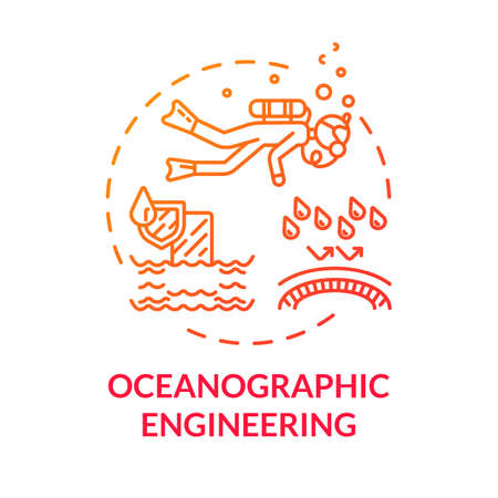 Oceanographic engineering red concept icon. Exploring underwater ecosystem. Biologist swim in ocean. Oceanography idea thin line illustration. Vector isolated outline RGB color drawing