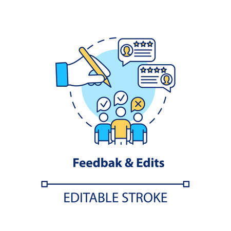 Feedback and edits concept icon. Client comments, required changes making idea thin line illustration. Creative design process step. Vector isolated outline RGB color drawing. Editable stroke