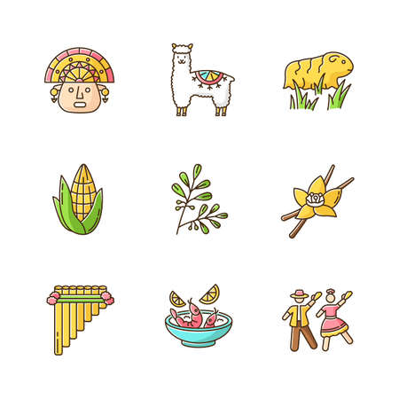 Peru RGB color icons set. Hispanic history, agriculture, livestock, traditions, culture, cuisine. Incas, alpaca, guinea pig, corn, coca, vanilla, ceviche, marinera. Isolated vector illustrations