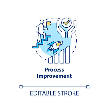 Process improvement concept icon. Workflow optimization idea thin line illustration. Work quality enhancement, skills development. Vector isolated outline RGB color drawing. Editable stroke