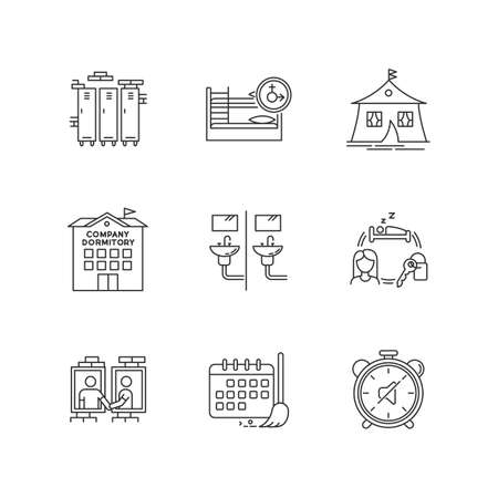 Living in dormitory pixel perfect linear icons set. Cleaning schedule. Quiet hours. Communal bathroom. Customizable thin line contour symbols. Isolated vector outline illustrations. Editable stroke