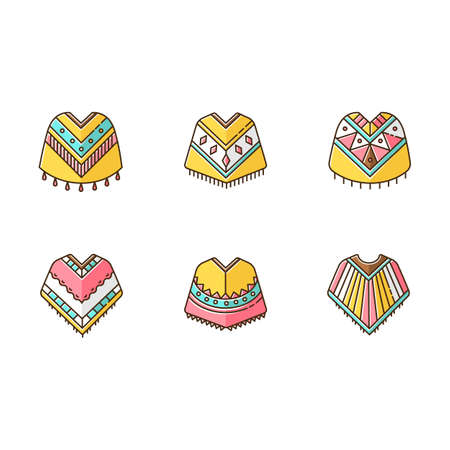 Poncho RGB color icons set. Mexican, Peruvian, Brazilian wear. Hispanic ethnic woolen clothes. Motley warm traditional costume. Simple indian outerwear. Isolated vector illustrations