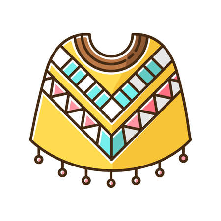 Poncho yellow RGB color icon. Traditional native american people costume. Simple latino woolen wear with geometric ornament. Peruvian ethnic clothes. Isolated vector illustration