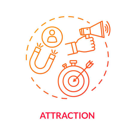 Attraction concept icon. Advertising strategies, customer base development. Inbound, target and viral marketing idea thin line illustration. Vector isolated outline RGB color drawing