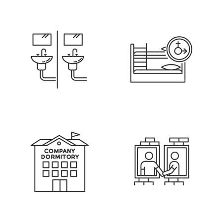 Company dormitory pixel perfect linear icons set. Communal bathroom. Bedroom. Shared room. Common space. Customizable thin line contour symbols. Isolated vector outline illustrations. Editable stroke