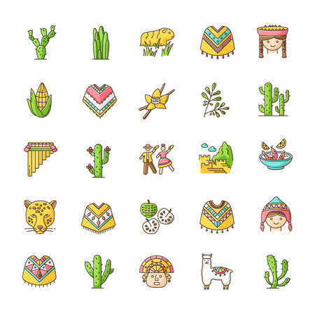 Peru RGB color icons set. Andean country sights, traditions, cuisine, agriculture, animals. Alpaca, guinea, pig, poncho, cherimoya, ceviche, jaguar, incas, marinera. Isolated vector illustrations Vector Illustration