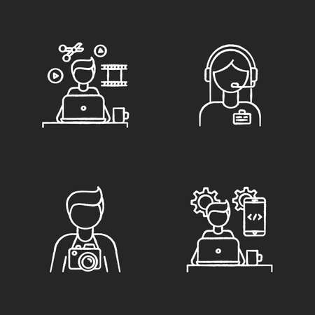 Remote workers chalk white icons set on black background. Video editor, photographer, app developer. Administrator support and programming, media producing. Isolated vector chalkboard illustrations