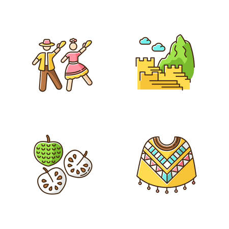 Peru RGB color icons set. Mixture of Spanish and Native American traditions. Andean tourist attractions. Marinera, Machu Picchu, cherimoya, poncho. Trip in Latin America. Isolated vector illustrations