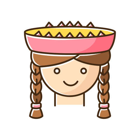 Peruvian girl RGB color icon. Cute smiling woman head with braids. Young lady in traditional hat. Latin american national headdress. Local Peru child. Isolated vector illustration Ilustração