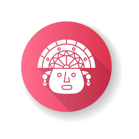 The Incas pink flat design long shadow glyph icon. Man face in traditional inca headdress. Ancient south american idol head. Hispanic god. Peruvian culture. Silhouette RGB color illustration
