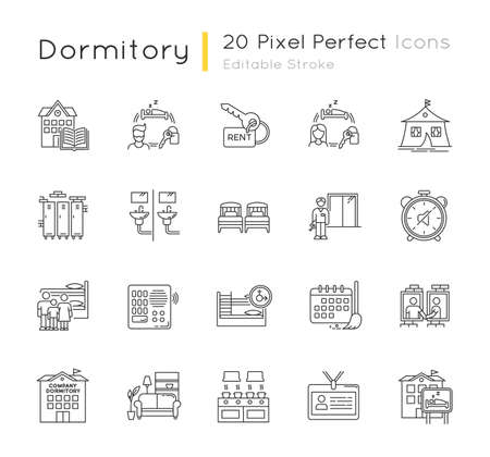 Dormitory pixel perfect linear icons set. Communal space. Living accommodations. Shared room. Customizable thin line contour symbols. Isolated vector outline illustrations. Editable stroke Ilustração