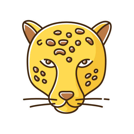 Jaguar yellow RGB color icon. Leopard head. Cheetah. Wild large spotted cat living in South America. Strong aggressive predator. Jungle dweller. American panther. Isolated vector illustration