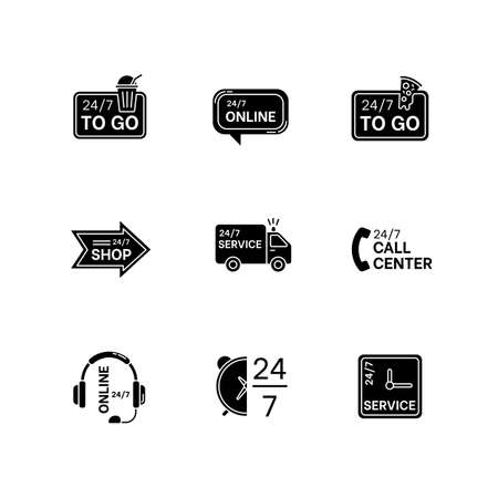 24 7 hour service black glyph icons set on white space. Online 24 hrs customer support. Everyday available delivery. Transportation truck sign. Silhouette symbols. Vector isolated illustration