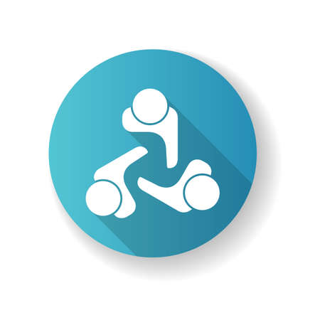 Company culture blue flat design long shadow glyph icon. Internal corporate ideology, professional business ethics, official office policy. Staff togetherness. Silhouette RGB color illustration
