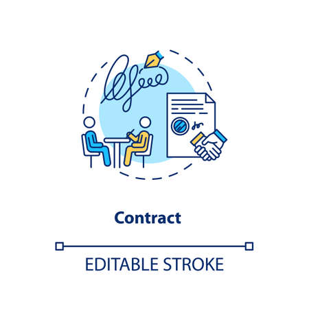 Employment contract signing concept icon. Creative brief idea thin line illustration. Creative agency workers legal obligation. Vector isolated outline RGB color drawing. Editable stroke
