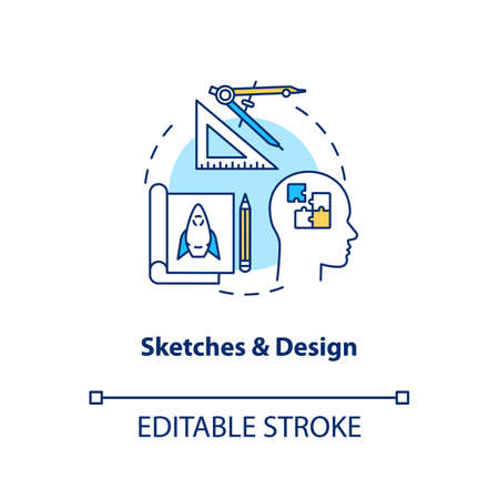 Sketches and design concept icon. Paperwork, plan forming idea thin line illustration. Groundwork, creative design process step. Vector isolated outline RGB color drawing. Editable stroke