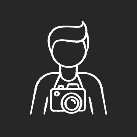 Freelance photographer, operator chalk white icon on black background. Photojournalist, paparazzi, cameraman. Photo studio employee. Photography art. Isolated vector chalkboard illustration