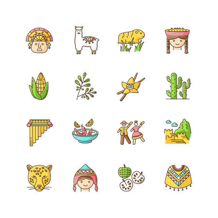Peru RGB color icons set. Peruvian sights, culture, nature, cuisine. Traveling in Latin America. Alpaca, guinea pig, siku, poncho, cherimoya, ceviche, jaguar, incas. Isolated vector illustrations Ilustracja