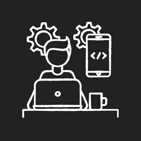 Mobile app developer chalk white icon on black background. Smartphone software creator. Application development, coding, programming, UI design. Isolated vector chalkboard illustration