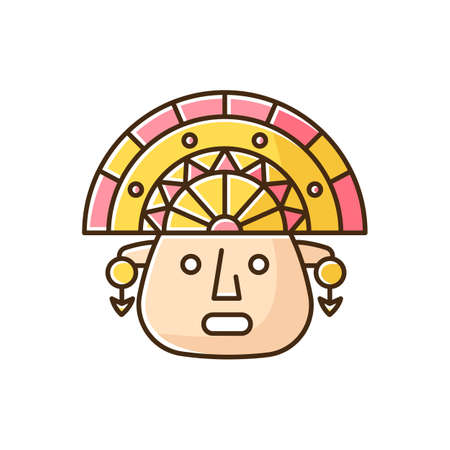 The Incas yellow RGB color icon. Man face in traditional inca headdress. Aztec ceremonial mask. Ancient south american idol head. Hispanic god. Peruvian culture. Isolated vector illustration Ilustración de vector