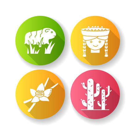 Peru flat design long shadow glyph icons set. Incas country features. Guinea pig, peruvian girl, vanilla, cactuses. Andean region traditions and nature. Silhouette RGB color illustration Illustration