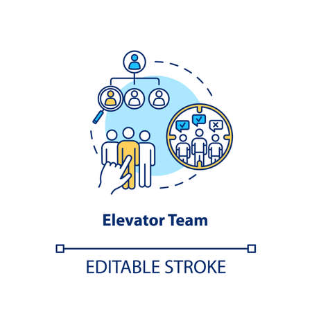 Elevator team concept icon. Work on-demand idea thin line illustration. Staff collaboration type, design studio team structure. Vector isolated outline RGB color drawing. Editable stroke