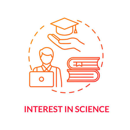 Interest in science red concept icon. Student curiosity in studying. Academic education in college. Scientific literacy idea thin line illustration. Vector isolated outline RGB color drawing