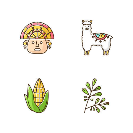 Peru RGB color icons set. Andean country features. Alpaca, incas, corn, coca. Incas history, and life traditions. Peruvian customs. Traveling in South America. Isolated vector illustrations Vector Illustration