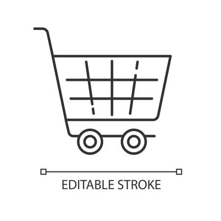 Shopping cart pixel perfect linear icon. Supermarket trolley. Online shop purchase. Thin line customizable illustration. Contour symbol. Vector isolated outline drawing. Editable stroke Illustration