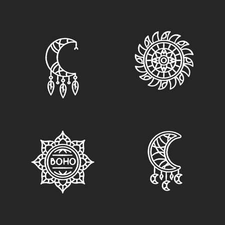 Boho style accessories chalk white icons set on black background. Esoteric amulets. Crescent moon shape amulets. Dreamcatcher handmade charm. Isolated vector chalkboard illustrations