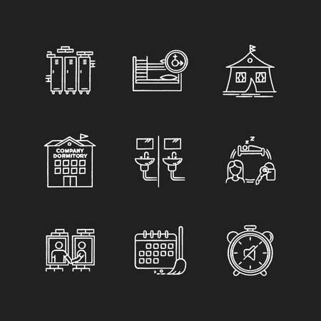 Living in dormitory chalk white icons set on black background. Lockers. Mixed bedroom. Company dorm. Cleaning schedule. Quiet hours. Communal bathroom. Isolated vector chalkboard illustrations Ilustração