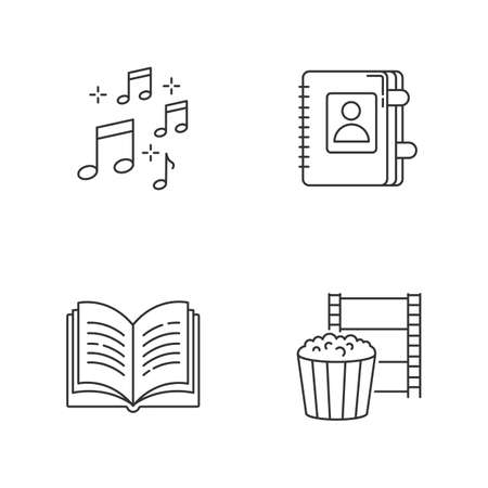Recreation pixel perfect linear icons set. Musical notation. Write in notebook. Leisure activities. Customizable thin line contour symbols. Isolated vector outline illustrations. Editable strokes Иллюстрация