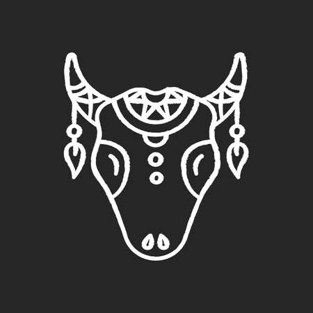 Tribal cattle head chalk white icon on black background. Cow skull with feathers, Native American Indian symbol. Wild animal head, tribe mystic amulet. Isolated vector chalkboard illustration Illustration