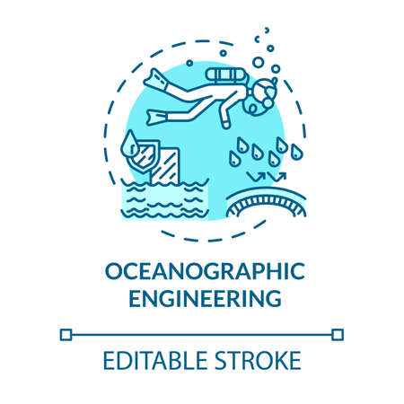 Oceanographic engineering turquoise concept icon. Exploring underwater ecosystem. Oceanography idea thin line illustration. Vector isolated outline RGB color drawing. Editable stroke