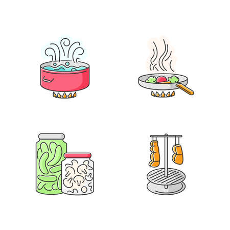 Culinary techniques RGB color icons set. Different food preparation methods, cooking process. Boiling, frying, canning and smocking isolated vector illustrations