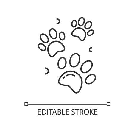 Pet paw prints pixel perfect linear icon. Animal footprints. Dog walk trail. Track of cat steps. Thin line customizable illustration. Contour symbol. Vector isolated outline drawing. Editable stroke
