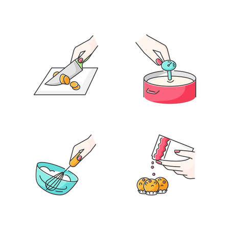 Méthodes culinaires Ensemble d'icônes de couleur RVB. Préparation des aliments, techniques de cuisson. Découpe, fabrication de fromage, crème fouettée et bonbons faisant des illustrations vectorielles isolées