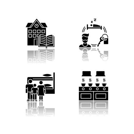 Dormitory drop shadow black glyph icons set. Family dorm. Communal kitchen. Common space. Shared bedroom. Renting. Campus library. Living conditions. Isolated vector illustrations on white space Ilustração