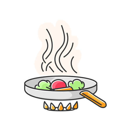 Frying RGB color icon. Fast food preparation, meal preparation in oil. Culinary technique. Cooking pan with ingredients on oven fire isolated vector illustration