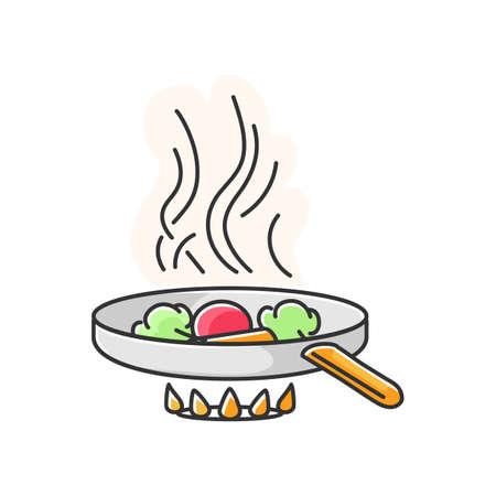 Icône de couleur RVB de friture. Préparation de restauration rapide, préparation de repas à l'huile. Technique culinaire. Casserole avec des ingrédients sur le feu du four isolé illustration vectorielle Vecteurs