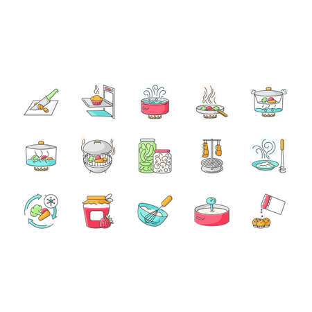 Cooking process RGB color icons set. Different food preparation methods, various culinary techniques. Ingredients and kitchen utensils isolated vector illustrations