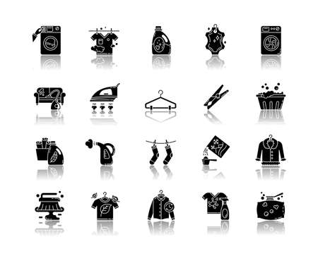 Laundry types and equipment drop shadow black glyph icons set. Laundromat, wet and dry cleaning, express laundry. Washing and ironing appliances. Isolated vector illustrations on white space