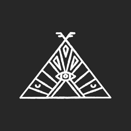 Native American chief teepee chalk white icon on black background. Tribal dwelling. Hut with ethnic ornament and all seeing eye. Wigwam with ethnic decorations. Isolated vector chalkboard illustration