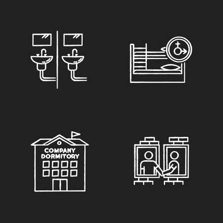 Company dormitory chalk white icons set on black background. Communal bathroom. Mixed bedroom. Shared room. Common space. Corporate living accommodation. Isolated vector chalkboard illustrations Ilustração