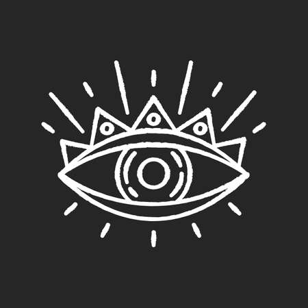 All seeing eye chalk white icon on black background. Occultism and prophecy sacred symbol. Eye of providence, mysterious talisman. Isolated vector chalkboard illustration Vectores