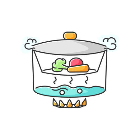 Steaming RGB color icon. Cooking food on vapor over boiling water. Meal preparation method, culinary technique. Steamer with vegetables isolated vector illustration